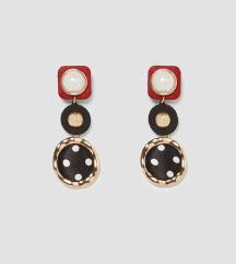 ZARA- Naušnice s bisernom perlom i točkicama