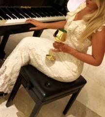 Zara krem čipkana haljina