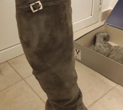 Čizme - brušena koža, visoke (PLANISPHERE)