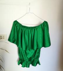Zelena majica bez rukava sa volanima