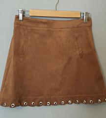 Mini smeđa suknjica od brušene kože