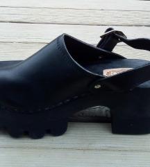 DONNA FLO crne platforma klompe/prava koža NOVO 36
