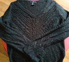 H&M pleteni crni pulover