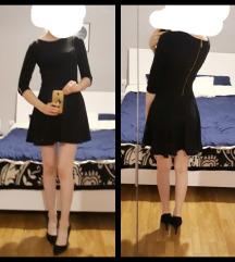 Kratka crna haljina sa rukavima 34/36