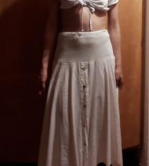 Divna midi lanena vintage suknja
