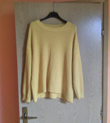 Pull&Bear žuti oversized pulover L