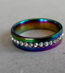 Šareni rainbow prsten s cirkonima