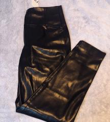 Zara kožne hlače tajice L crne