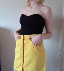 Žuta suknja na kopčanje