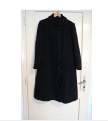 Ženski dugački crni zimski kaput veličina L/XL