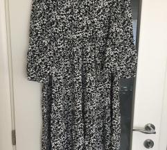 ZARA haljina crno bijela cvjetna S/M