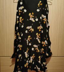 Zara haljina crna sa žutim cvjetovima