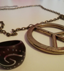 POKLANJAM - Peace lančić i smeđi prsten ☮️