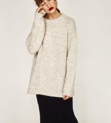 ZARA nude/bež oversized džemper