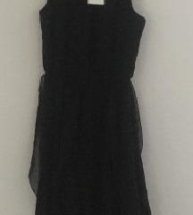 Nova, asimetrična, crna haljina od tila