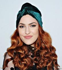 Novi zeleni baršunasti turban
