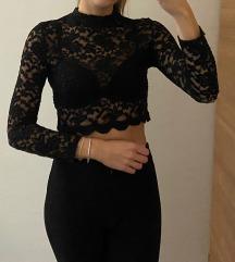 Crna čipkasta bluza