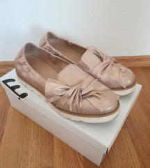 Ženske zlatno-roza cipele s mašnom