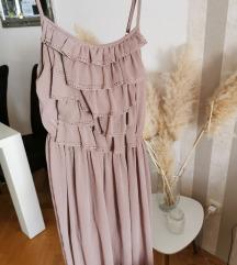 Haljina prljavo roza sa volanima