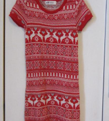 H&M božićna vunena haljina tunika 110/116