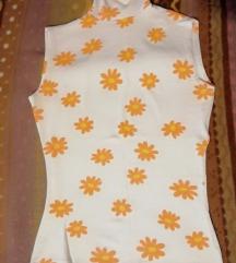 Bijela majica rolka s cvjeticima xs/s