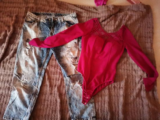 Lot pokidane traperice i body majica