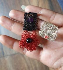 Tri pletena prstena od žice, ručni rad, novo .