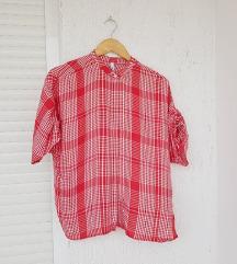 MANGO crvena karirana košulja/ kratki rukavi