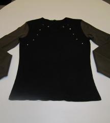 BENETTON crna majica s maslinastim rukavima