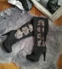 Sive čizme s krznom