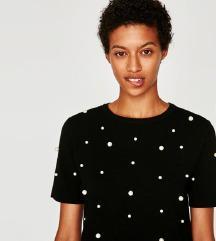 Zara pearl biseri majica tshirt crna