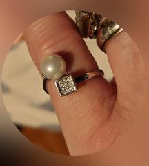 Prsten pravo srebro i slatkovodni biser