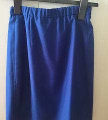 Plava suknja, ravni kroj, do koljena