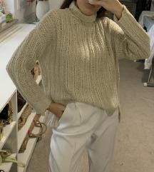 H&M krem vuneni pulover