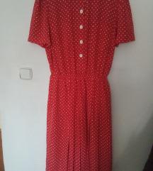 Crvena midi haljina na tockice 42