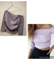 Zara off shoulder lila top umjetna koza