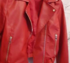 Crvena kozna jakna vel xl uklj tisak
