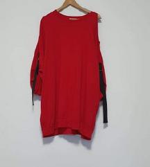 Crvena pamučna tunika- golo rame