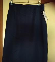 tamno plava klasična suknja s etiketom, fini štof