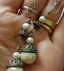 Naušnice biseri i srebro