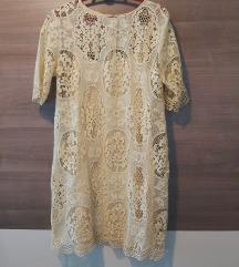 Zara žuta čipkasta haljina