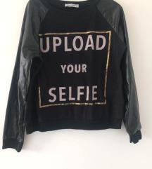 Crna majica dugih rukava Selfie