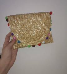NOVA Pletena torbica torba novčanik s pomponima