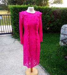 Asos, pink - čipkasta haljina, veličina 38