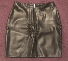 Crna kozna suknja umjetna koza