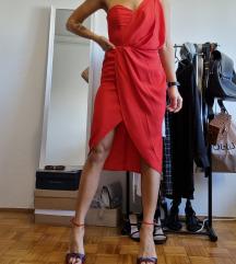 Asos crvena asimetrična haljina