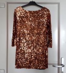 Zlatna sljokicasta haljina S-M