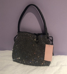 Srebrno crna torbica pouch vrećasta