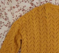 žuti pleteni pulover