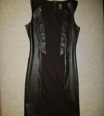Crna kožna haljina M